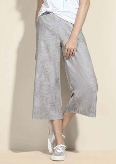 692dbd441 Calça pantacourt feminina em tecido jacquard de algodão estampada | Cinza |  Tam.036 | Hering