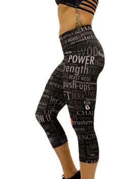 Angel del Mar Motivation Workout Capris Black Crossfit Gear, Crossfit Clothes, Crossfit Athletes, Workout Clothing, Workout Capris, Workout Wear, Workout Leggings, Workout Attire, Workout Outfits