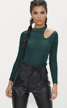 Emerald Green Velvet Cut Out Shoulder Thong Bodysuit | PrettyLittleThing