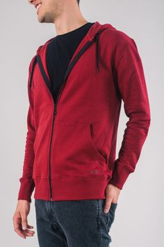 677d8cc0 Red hoodie from ethical fashion brand KTO on MAMOQ. Made with Fairtrade and  Organic cotton