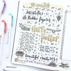 Part 80 Magical Harry Potter Bullet Journal layout ideas Bullet Journal Kit, Bullet Journal Harry Potter, Bullet Journal Stickers, Bullet Journal Student, Bullet Journal Themes, Bullet Journal Spread, Bullet Journal Layout, Bullet Journal Inspiration, Harry Potter Movies List