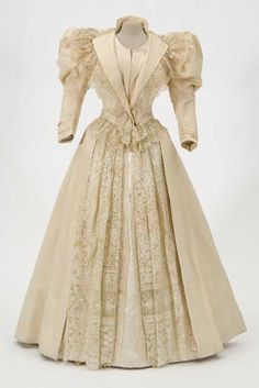Two-piece formal day dress of off-white ottoman silk and rosepoint lace made by Saint Paul dressmaker Mrs. George F. Hall and worn by Mahala Fisk Pillsbury (Mrs. John S.), Minneapolis, 1894-1897.