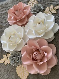 Paper Flowers Wall Decor, Paper Flowers for Girls Room, Floral Nursery, Blush Pink White gray paper flowers, blush gray nursery gold leaves - Crafts & Homemade Items - Paper Flower Vase, Paper Flower Centerpieces, Paper Flower Arrangements, Large Paper Flowers, Paper Flowers Wedding, Tissue Paper Flowers, Paper Flower Backdrop, Flower Decorations, Floral Flowers