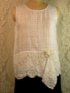 30d3ac4ccc2 Size S Sleeveless White Linen Tunic Top Boho Gypsy Hippie Upcycled Upscaled  Altered Clothing Eco Chic Nicely done doily top by RevampReuse on Etsy