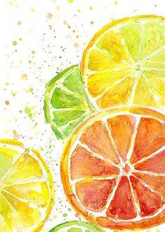 Citrus Fruit Watercolor Art Print, Food Painting, Kitchen Decor, Juicy, Colorful