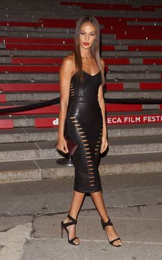 Joan Smalls in a black leather cutout House of CB dress at the Tribeca Film Festival