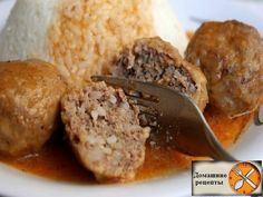Meatballs and gravy - Gastronomy - Meatball Sauce, Meatball Recipes, Beef Dishes, Tasty Dishes, Meatballs And Gravy, Cooking Onions, Good Food, Yummy Food, Delicious Recipes