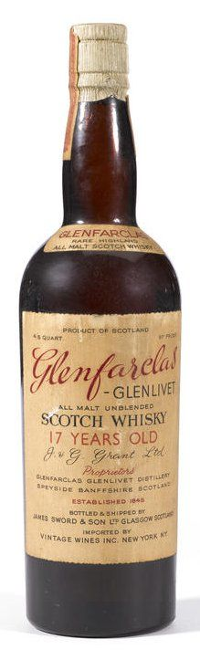 Glenfarclas-Glenlivet 17 years old.  Circa 1940. Bottled and shipped by James Sword & Son, Ltd, Glasgow, Scotland. Stopper cork. Level: High shoulder. 4/5 Quart. 91 proof.