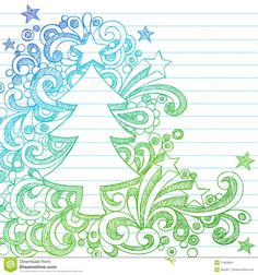 Photo about Vector Illustration- Hand-Drawn Sketchy Christmas Tree Notebook Doodles on Lined Notebook Paper Background. - 11859091