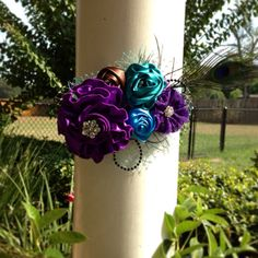 Beautiful Blue and Purple Peacock Maternity Sash on Etsy, $35.00