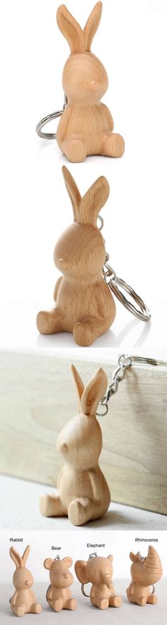 Wood Rabbit Keyring Keychain