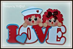 Paper piecing for scrapbook or craft, Raggedy Love...