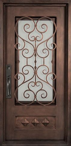 40x98 Victorian Iron Door. Beautiful wrought iron front entry door with grille from Door Clearance Center.