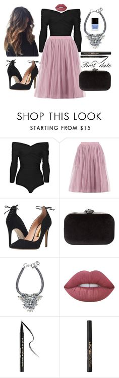 """""""First date outfit"""" by staceybuijs ❤ liked on Polyvore featuring Carven, Boohoo, Rupert Sanderson, Phase Eight, Lime Crime, Too Faced Cosmetics and Butter London"""
