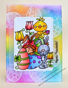 InvisiblePinkCards: Easter card using Bugaboo digi coloured with Copics and background using Tim Holtz Distress Inks