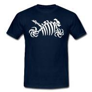 Ein Motorrad Fossil aus Knochen als Skelett.