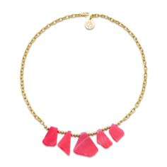 Oh so natural is our hot pink stone statement necklace with a warm gold metal alloy chain. Handmade by persons with Intellectual Disabilities.