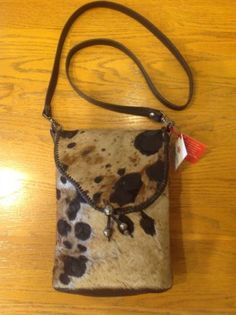NEW-100-Genuine-Hide-Leather-amp-Fur-Brown-amp-Taupe-Crossbody-North-South-Purse