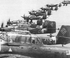 Stukas  were dive bombers with a 2 man crew. A pilot and a rear gunner.made their combat debut in 1936.Over Po;and in 1939