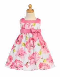 m708 Pink Floral Print White Cotton Easter Dress with Taffeta Trim (1)
