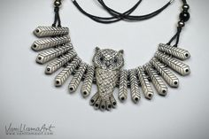 VaniLlamaArt: Metallic Gray Owl Necklace