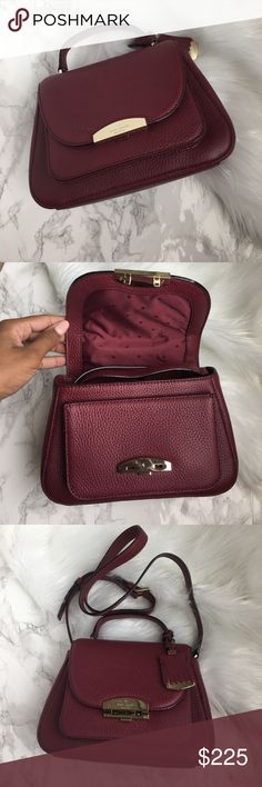 "NWT Kate Spade Small Alexya bag NWT Kate Spade Small Alexya handbag in burgundy.  SIZE 6"" h x 8.7"" w x 3.2"" d drop length: 2.2"" handle, 22"" adjustable strap  MATERIAL embossed pebble cowhide  matte jacquard with spades & dots lining 14 karat gold plated hardware  DETAILS crossbody with flap closure and adjustable strap interior zip and slide pockets luggage tag detail engraved kate spade new york logo on hardware kate spade Bags"