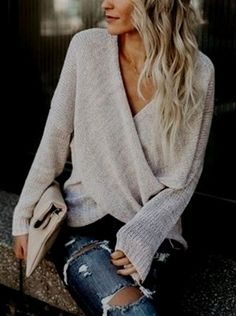 $41.99!Simple Casual V Neck Front Cross Weekend Sweater Top fall fashion trend cheap online store best sell #VacationsinItaly #ItalyPhotography #TravelinItaly #Italytravel #HolidaysinItaly #ItalyVacation