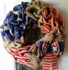 Patriotic Burlap Wreath by Johanna Nuno