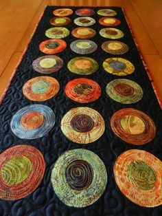 Modern Table Runner Batik Circle Table Runner by LyndiArt