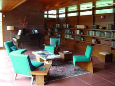 interiors of frank lloyd wright homes - Google Search love the teal and dark wood