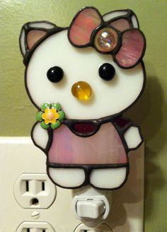 Stained glass Hello Kitty nightlight (I made for my niece)