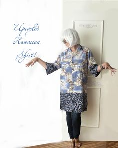 Oversize Hawaiian top, Kimono inspired, Upcycled clothing, artsy top, beach coverup, tropical navy blue, boho chic, refashioned, eco fashion by ButterCatCo on Etsy https://www.etsy.com/listing/528265581/oversize-hawaiian-top-kimono-inspired