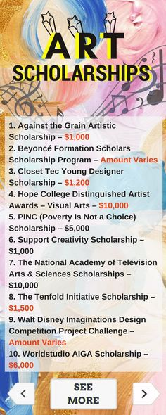 Art Scholarships Use your creativity to win money! Here is a selection of Art Scholarships that are listed on TUN. – College Scholarships Tips Financial Aid For College, College Fund, College Planning, Online College, Education College, College Teaching, College Tuition, Education Degree, College Dorms
