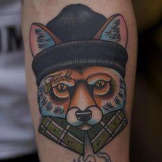 Arm New School Fox Tattoo by Mike Stocklings Wolf Tattoos, Head Tattoos, Animal Tattoos, Sleeve Tattoos, Zorro Tattoo, Jester Tattoo, Tattoo Old School, Fox Tattoo Meaning, Tattoos With Meaning
