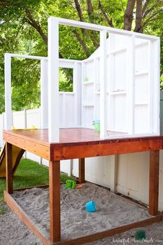 Create the perfect outdoor space for your kids this summer. Build a DIY playhouse for hours of imaginative play. This week we share the plans for the walls. Kids Playhouse Plans, Outside Playhouse, Backyard Playhouse, Build A Playhouse, Backyard Playground, Backyard For Kids, Diy For Kids, Outdoor Playhouses, Outdoor Playset