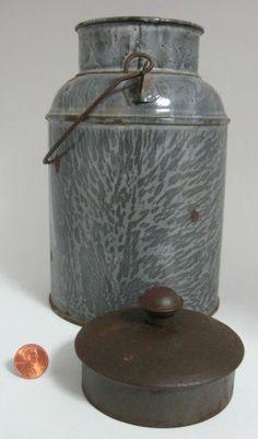Antique Graniteware Cream Can Grey Swirl by AntiquesAndTeacups