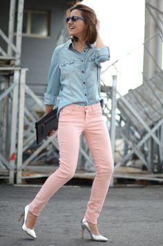 Peach pink & chambray  #NastyGal #MINKPINK