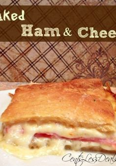 """Like this recipe? """"Pin it"""" to save it by clicking the photo above!! Be sure to follow CentsLessDeals on Pinterest and check out our other great recipes while you're here! This ham & cheese crescent bake is super easy to throw together and it's so cheesy and delicious! I used Meunster cheese because I love …"""