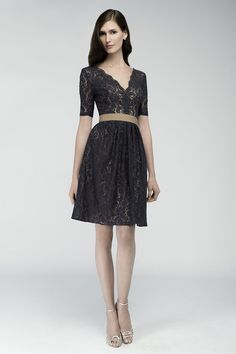 charcoal-lace-knee-length-short-bridesmaid-dress-with-sleeves-