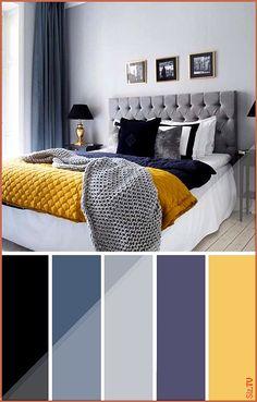 home decor bedroom Gray Yellow Navy-Blue Bedroom Color Scheme Blue Bedroom Colors, Navy Blue Bedrooms, Blue Bedroom Decor, Modern Bedroom, Bedroom Ideas, Contemporary Bedroom, Bedroom Yellow, Bedroom Designs, Bedroom Classic