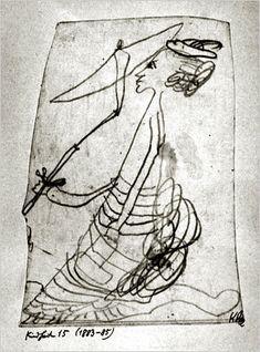 """Paul Klee, """"Woman With Parasol"""" (1883-5) on ArtStack #paul-klee #art"""