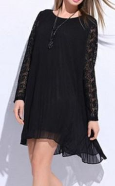Love Love LOVE this Little Black Dress! Sheer Layers + Black Lace Trendy Scoop Neck Lace Sleeve A-Line Dress For Women #Sheer #Layers #Black #Lace #LBD #Fashion