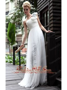White Empire One Shoulder Floor-length Printed Prom/Party Dress  http://www.fashionos.com  http://www.facebook.com/quinceaneradress.fashionos.us  fashionable prom dress in 2013 | lovely prom dress for spring | fabulous prom dress for fall | chiffon fabric prom dress for prom party | white empire prom dress | chic prom dress for christmas | white floor length prom dress for formal evening | prom dress with print and hand made flowers |