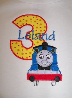 Thomas the Train Birthday Shirt with or without a by OMG2Cute, $24.95