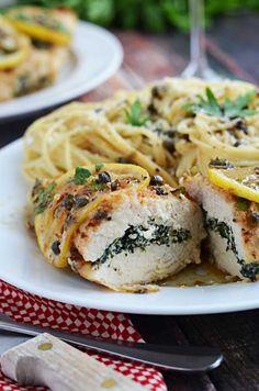 "Spinach and Ricotta Stuffed ""Chicken Piccata"" - Tender chicken breast stuffed with spinach and feta, served piccata style in a lemon, white wine, caper sauce."