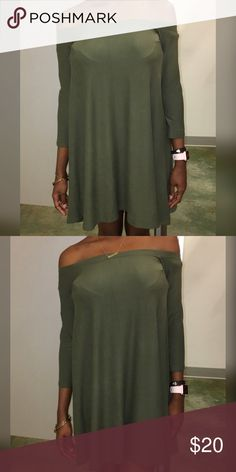 Green off the shoulder dress 👗 Off the shoulder dress. NWT. Great for casual wear Planet Gold Dresses