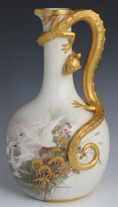 porcelain ewer geese and dragon, royal worcester, 1887