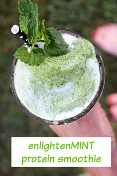 EnlightenMINT Protein Smoothie packed with kale, mint, pineapple and more!