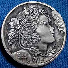 Hobo Nickel carved by Howard Thomas - photo from Hobo Nickels Valuable Coins, Hobo Nickel, Coin Art, Bullion Coins, Metal Clay Jewelry, Antique Coins, Rare Coins, Coin Collecting, Gold Coins