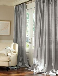 Dupioni Silk Drapes Pottery Barn, silk curtains, silk drapes ~ Home Design Cute Curtains, Beautiful Curtains, Silk Curtains, Drapery Fabric, Bedroom Curtains, Rustic White, White Silk, Window Treatments, Master Bedroom